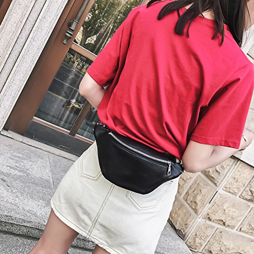 Pack Leather Robemon Chain Messenger Waist Casual Fashion Bag Bag Chest Black Bag Shoulder Women Bum Messenger qBxx5Pft