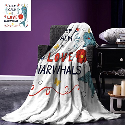 Fenlin Narwhal Throw Blanket Pop Culture Phrase with Unicorn of The Ocean Design Colorful Cartoon Character Warm Microfiber All Season Blanket for Bed or Couch Multicolor (Taylor King Couch)