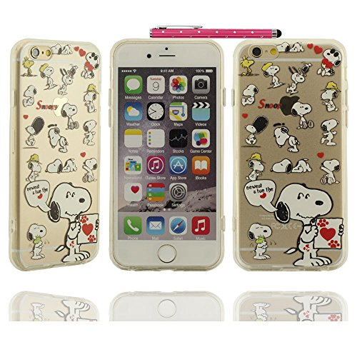 Klar modisches Design in verschiedenen Farben Stilvolle Cool Cartoon snoopy Love Serie Hartplastik Case Schutzhülle für Apple iPhone 6 plus / 6S plus Hülle 5.5 inch mit Touch-Screen-Stift
