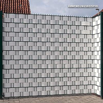 Videx Visión – Tiras para vallas, PVC imitación de madera, H: 9, 5 x l: 200 cm), color blanco: Amazon.es: Jardín