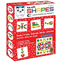 Play Panda Fun Magnetic Shapes Type 1 with 44 Colorful Magnetic Shapes, 164 Design Booklet, Magnetic Board and Display Stand, Red