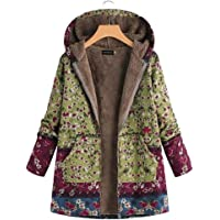 Casey Valuable Women Autumn Winter Floral Printed Hooded Jacket Coat Outwear