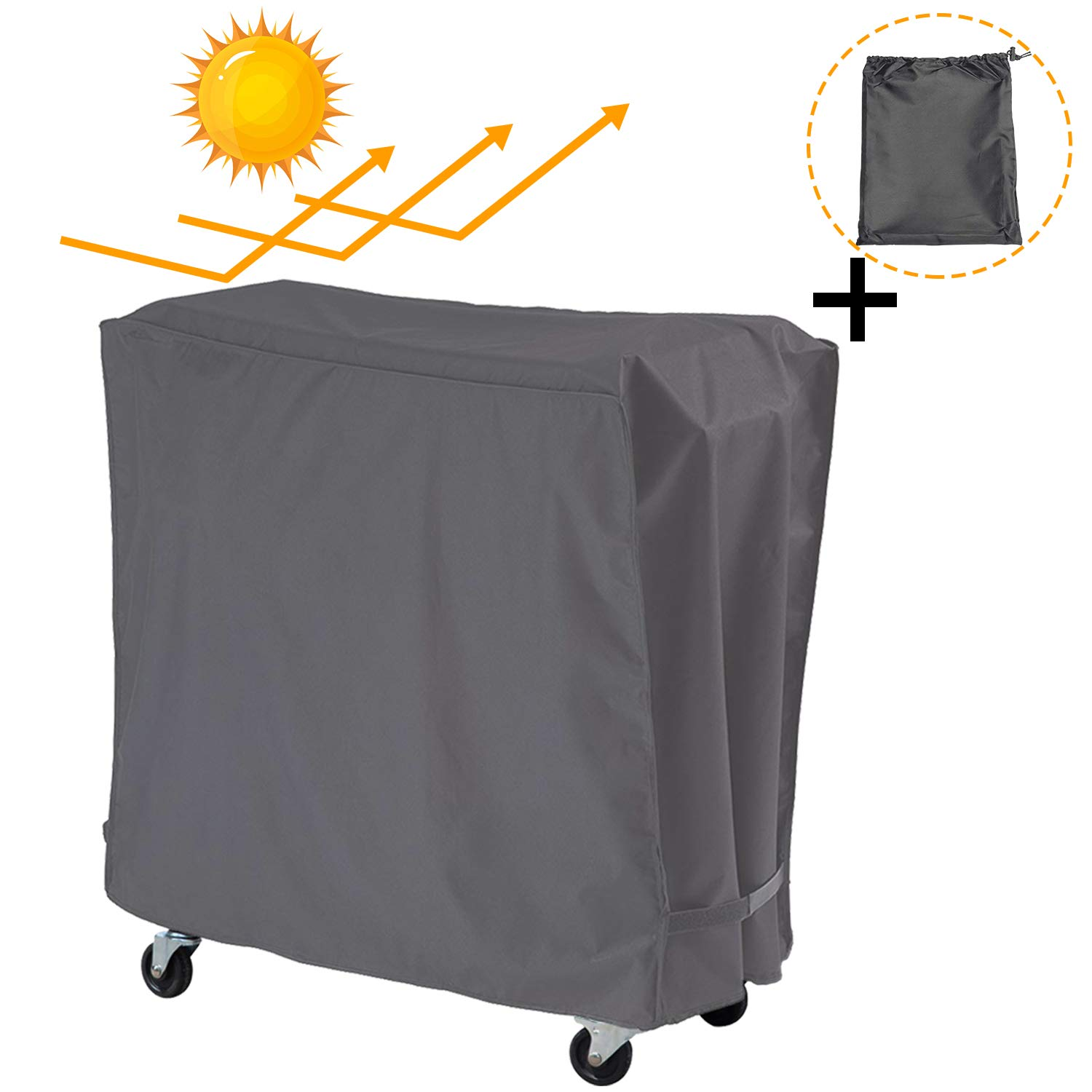 Patio Outdoor Cooler Cart Cover with UV Coating- Fits 80 Quart Rolling Coolers Patio Cooler,Beverage Cart, Rolling Ice Chest, Waterproof Protective Cover (Grey) by Covolo