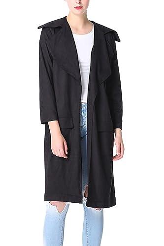 La Mujer Elegante Collar Oversize Frente Abierto Ruffle Suede Larga Chaqueta Outwear