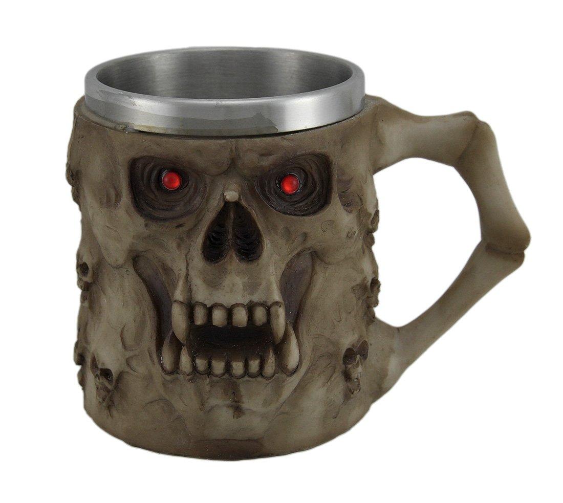 "Amazon.com | Fantasy Gifts Crafts and Arts 2733 Skulls Tankard with Red Eyes Mug, 4 1/2"", Multicolor: Beer Mugs & Steins"