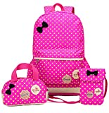 Freedi 3Pcs Backpack Cute Lightweight Shoulder School Bag Bookbags for Teen Girls Casual