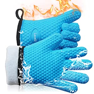 LoveU. Oven Mitts - Silicone and Cotton Double-Layer Heat Resistant Gloves/Silicone Gloves/Oven Gloves/BBQ Gloves - Perfect for Baking and Grilling - 1 Pair (XL/XXL, Blue)