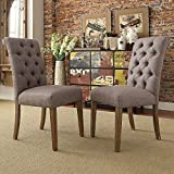 ModHaus Modern Gray Linen Button Tufted Parsons Style Dining Chairs | Wood Finish Wooden Legs - Set of 2 Includes ModHaus Living (TM) Pen