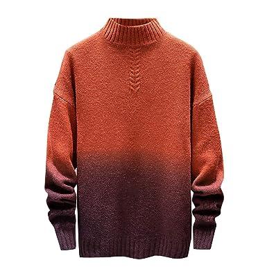 GoldPang Suéter de los Hombres, Moda Cuello Alto Top de Punto ...