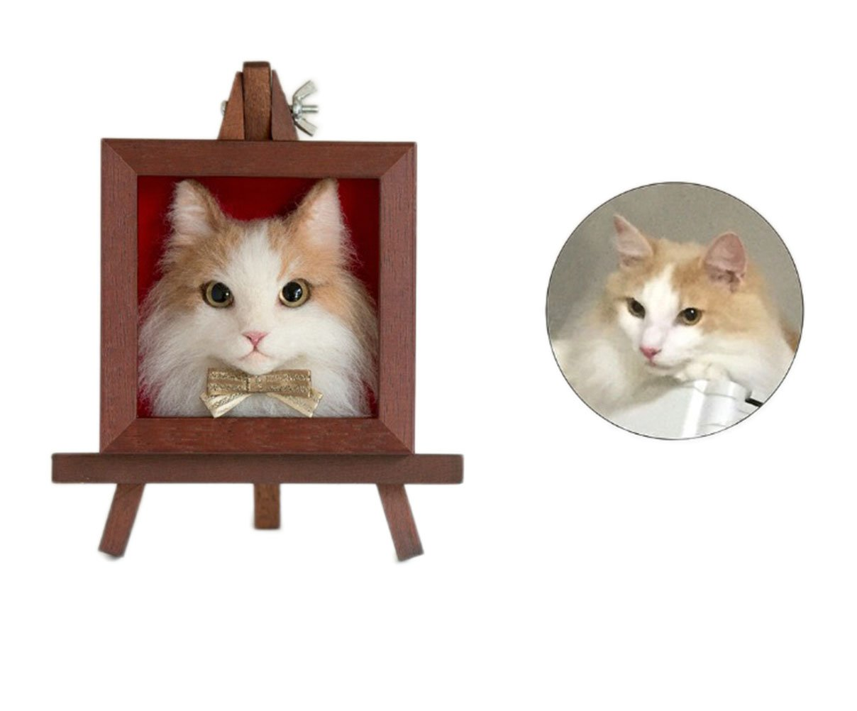 Pet Show Simulation Custom Wool Felt Handmade Cat Kitten 3D Sculpture Model Memorial Gift Personalized Copy of Your Cats Figure with Pine Redwood Photo Frames Pack of 1