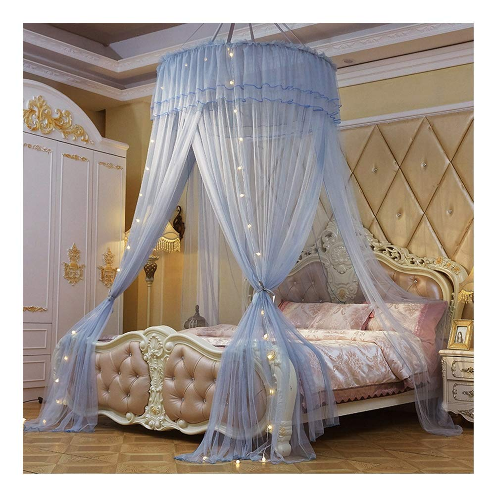DUXY Mosquito Net, King and California King Size Beds, Lighted Conical Three Open Doors Netting, Indoor Outdoor Use, Including Hanging Kit, Small Light Bulb and Anti-Mosquito Sticker,Grey by DUXY