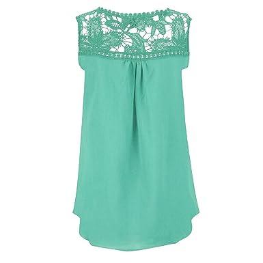 d7720ad073243 Women Summer Lace Splice Hollow Chiffon Vest Top Sleeveless Blouse Tank Tops  - Clearance Women Chiffon