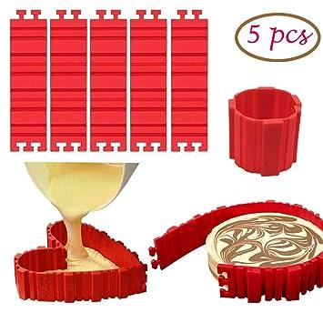 Molde para Tartas de Silicona de Magic Hornear Serpientes Bandeja 5 pz, Molde para Hacer Tartas en Casa, Flexible, Antiadherente y Desmontable para Realizar ...