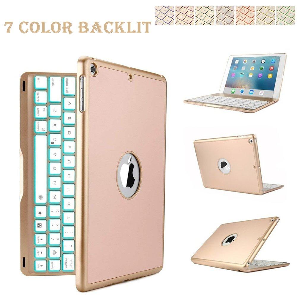 iPad Pro 9.7 bluetoothキーボードケース、elecfan 7色フォリオバックライト付きライト カラフルバックライト付きキーボードケース 高級多機能ケース付 iPad Pro 9.7 インチ用 iPad Pro 9.7 ゴールド EF-7SEJP-IPADP B01KTH4BPS iPad Pro 9.7|ゴールド ゴールド iPad Pro 9.7