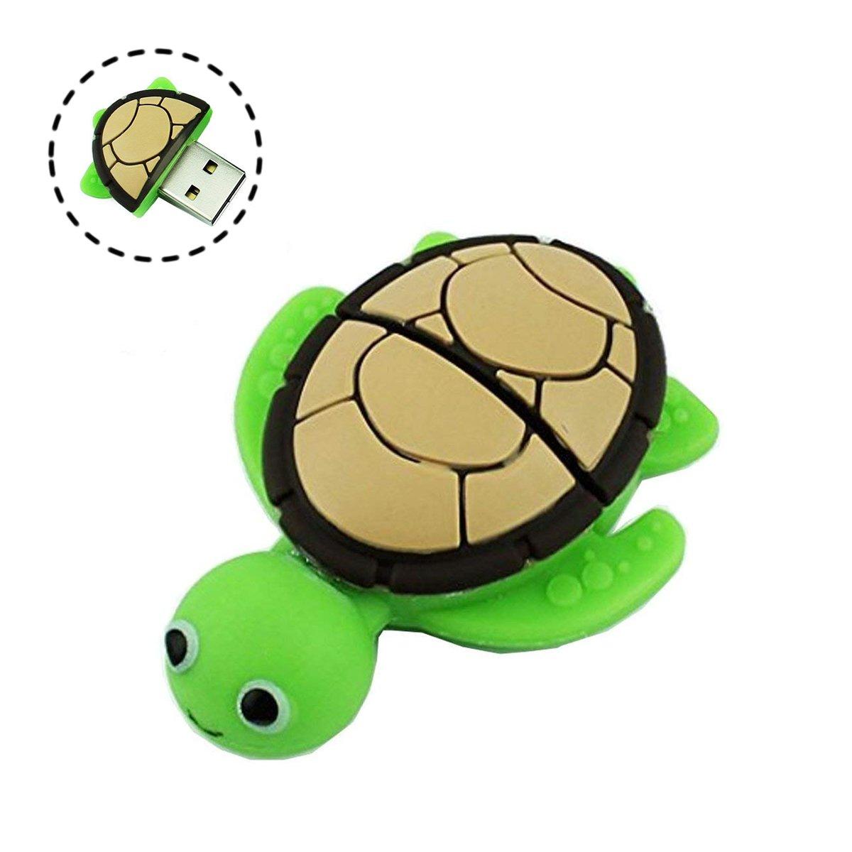 Novelty Tortoise Shape Design 16GB USB 2.0 Flash Drive Cute Memory Stick Sea Turtle Thumb Drive Data Storage Pendrive Cartoon Jump Drive Gift (tortoise-16GB) by QICAIHU (Image #1)