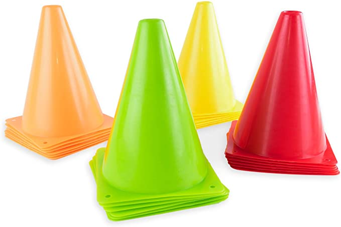 Red 24 Pack Yellow Super Z Outlet 7.5 Bright Neon Colored Orange Green Cones Sports Equipment for Fitness Training Traffic Safety Practice