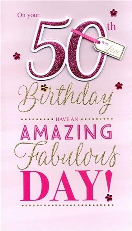Tarjeta de felicitación de cumpleaños para ella (17 x 30 cm ...
