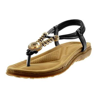 63cb7ba69fbe2 Angkorly - Chaussure Mode Tong Sandale lanière Cheville salomés Slip-on  Femme Bijoux doré élastique