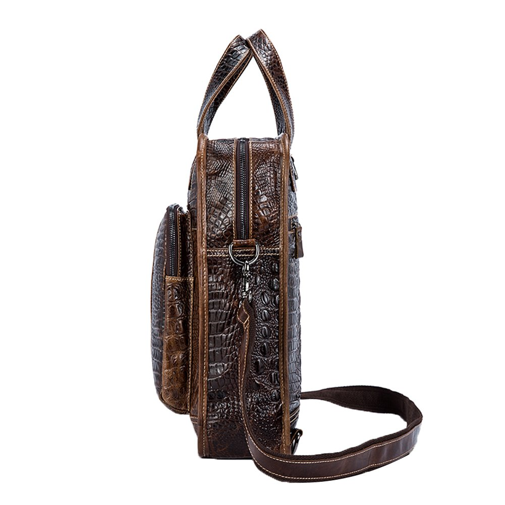Genda 2Archer Mens Crocodile Embossed Leather Shoulder Handbag Backpack