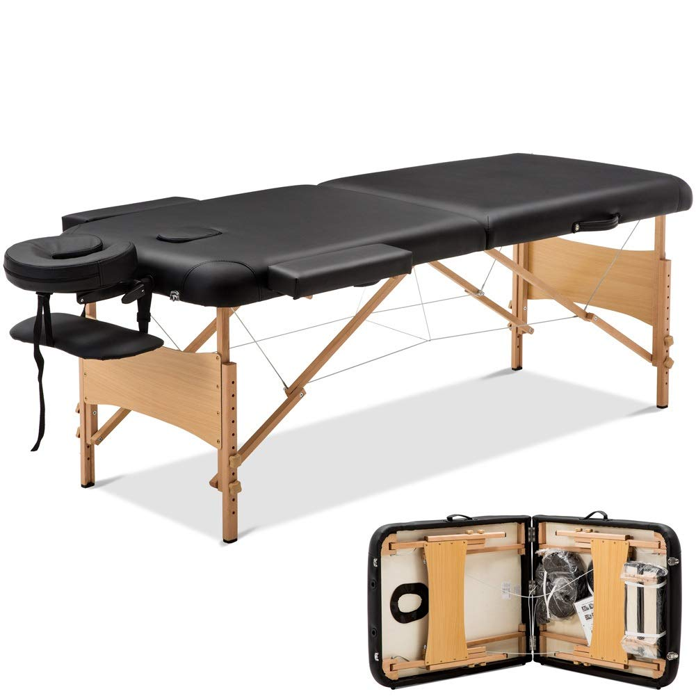 Massage Table Massage Bed Spa Bed with Carry Case 84''Long 2 Folding Portable Massage Table Heigh Adjustable by Cozyhome Bestone