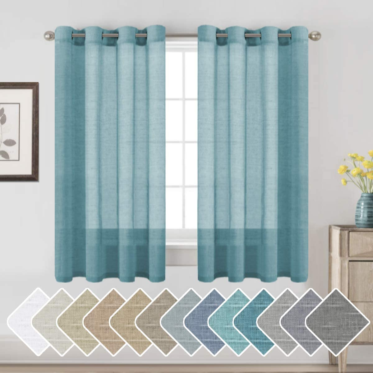 H.VERSAILTEX Window Treatments Linen Curtain Panels Open Weave - Natural Linen Blended Sheer Curtains with Nickel Grommet for Living Room, Privacy Assured (Turquoise, 52 by 63 Inch, Set of 2)