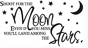 Home Find (27 inches x 15 inches ) Shoot for The Moon Even If You Miss You'll Land Among Stars Nursery Quotes Wall Vinyl Stickers Inspirational Lettering Art Decals Removable Kids Room Nursery Decor