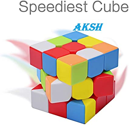 AKSH High Speed 3*3 Magic Speed Cube 3x3x3, High Stability, Stickerless, Amazing Stress Reliever Cube Game, Easy Turning and Smooth Play Puzzle Toy, Multi-Color Rubik Cube Puzzle (3*3 Regular Cube)