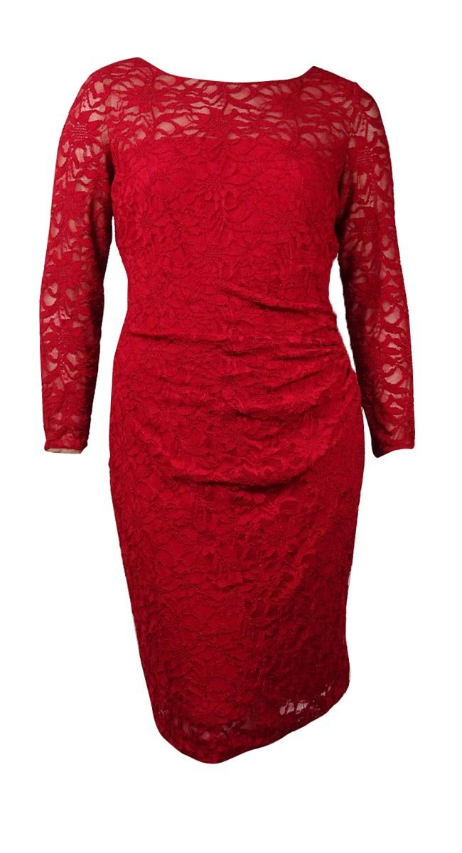 Lauren Ralph Lauren Womens Plus Lace Knee-Length Cocktail Dress Red 16W