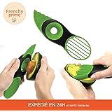 Coupe Avocat 3 en 1 ▼ Trancheuse facile et rapide ▼ (découpe / dénoyaute / tranche) - Plastique vert - 20 x 5,5 x 2,8 cm - Frenchy prime