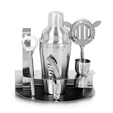 Premium 7 Piece Cocktail Making Set & Bar Shaker Kit by Bar Brat ™ / Free 130 Cocktail Recipe (ebook) Included/Pre-Built Stainless Steel Stand For All Your Bar Pieces