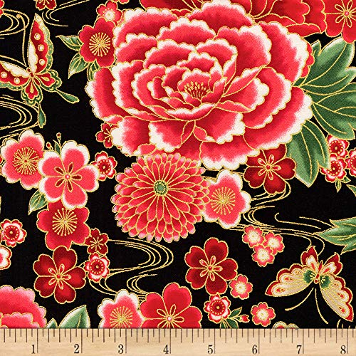 Robert Kaufman Imperial Collection Metallic 15 Flowers Black, Fabric by the Yard ()