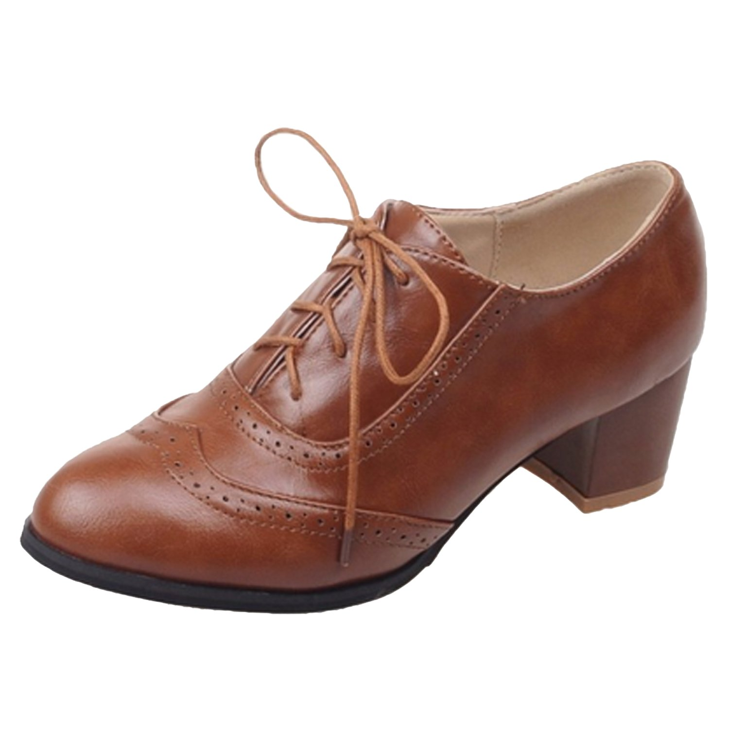 1920s Shoes UK – T-Bar, Oxfords, Flats Womens Heel Oxfords £22.99 AT vintagedancer.com