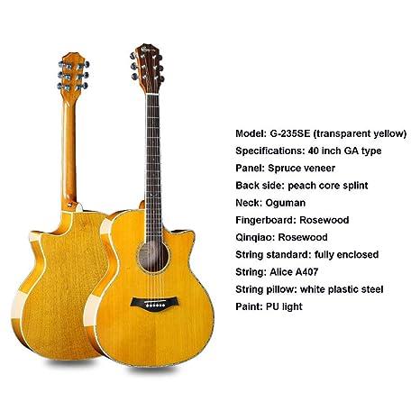 SXJC 40 Pulgadas Guitarra Acústica De Tamaño Completo Dreadnought ...