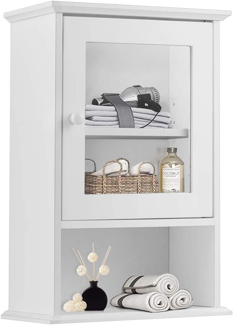 Tangkula Bathroom Cabinet, Wall Mounted Storage Organizer W Door and Open Shelf, Hanging Medicine Cabinet, White