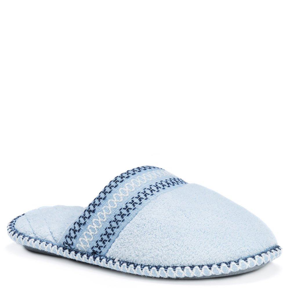 MUK LUKS Womens Cathy Micro Chenille Closed Toe Slippers, Sea Glass - M (7-8)