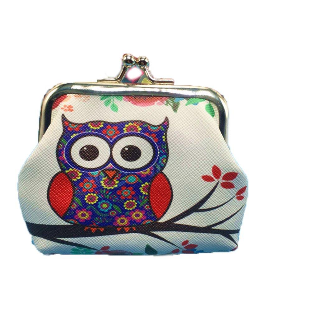 Women Girl Retro Owls Small Change Wallet Hasp Clutch Coin Storage Purse Bag (White)