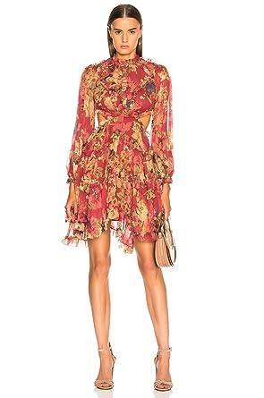 Dior Bella Burgundy Floral Chiffon Lace Up Mini Dress At