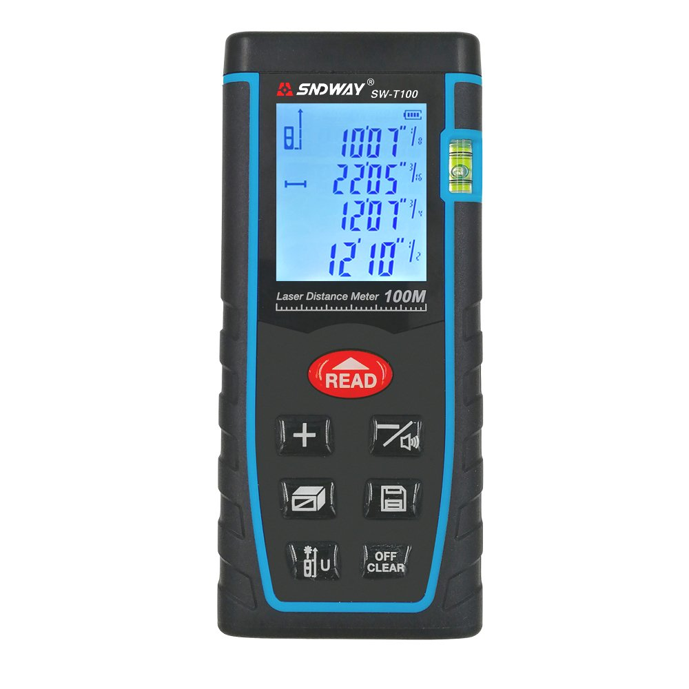 Sndway 100M/329ft Laser Distance Meter, Handheld Electric Measuring Device with Multi-function, Distance, Area, Volume, Pythagorean Mode and Calculation