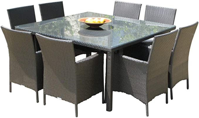 Black Great Deal Furniture 303928 Muriel Outdoor 7 Piece Multibrown Wicker Set with Brown Stone Finish Light Weight Concrete Dining Table and Beige Water Resistant Cushions