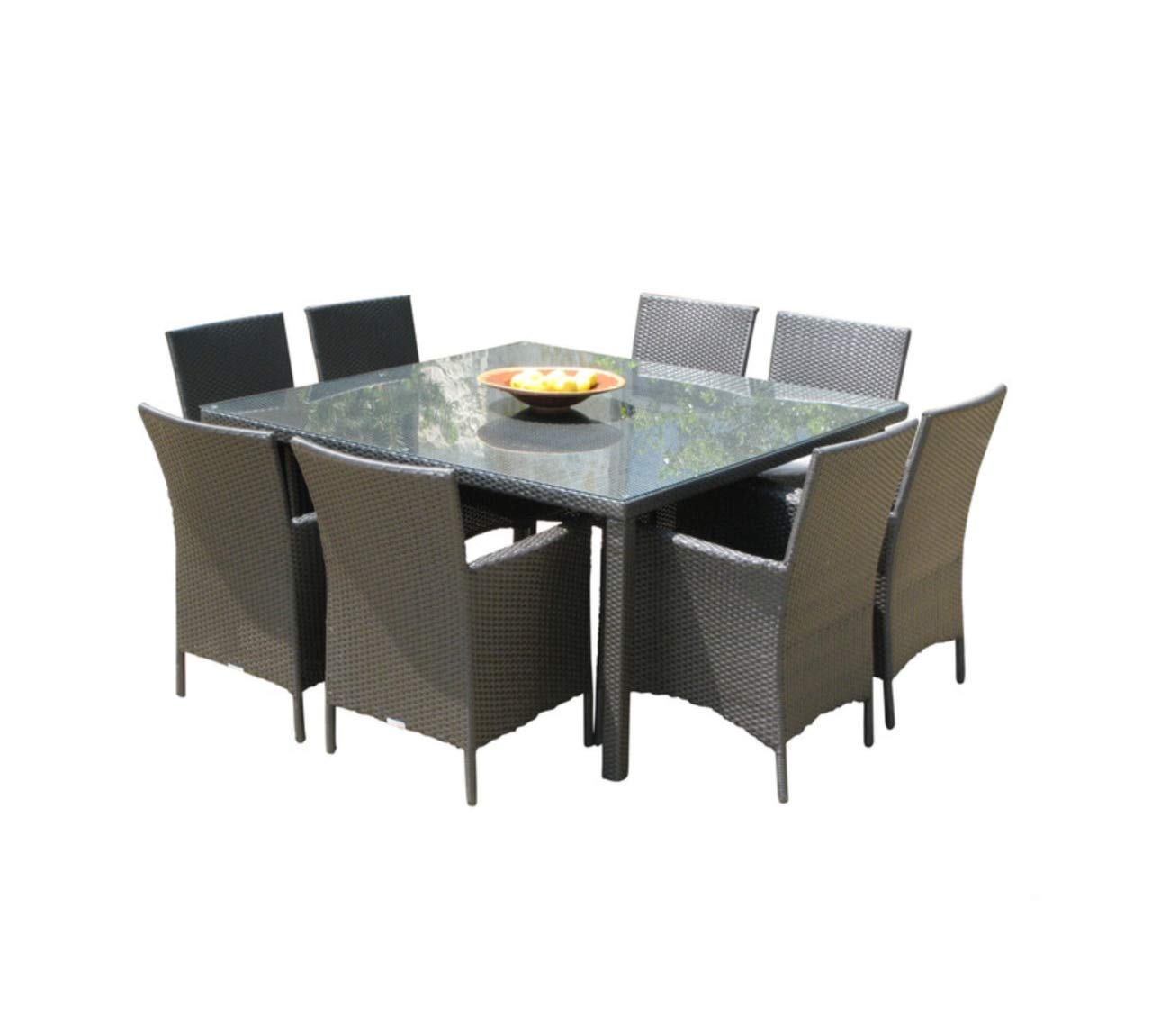 Brilliant Outdoor Patio Wicker Furniture New Resin 9 Piece Square Dining Table Chairs Set Short Links Chair Design For Home Short Linksinfo
