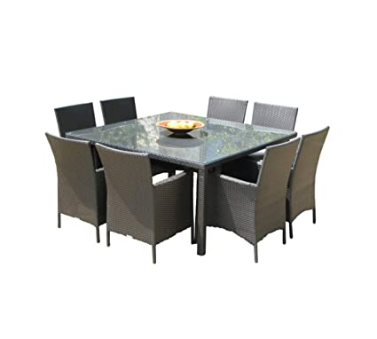 Pleasing Outdoor Patio Wicker Furniture New Resin 9 Piece Square Dining Table Chairs Set Cjindustries Chair Design For Home Cjindustriesco