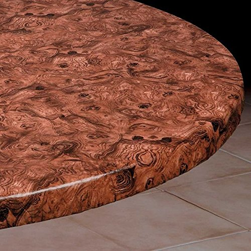 Medium Round Vinyl Table Cover With Elastic Edge- Fits 45'' to 54'' Diameter Table (Burlwood)