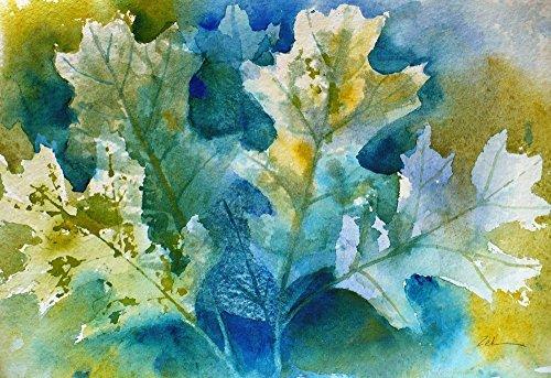 Autumn Oak Leaves Original Watercolor Janet Zeh