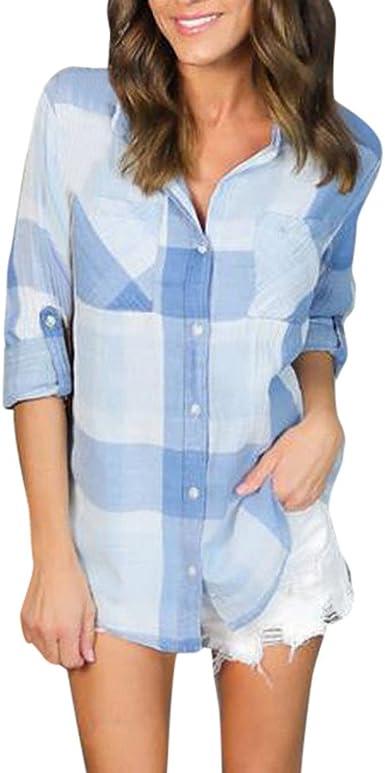 Vrtyoc - Camiseta de mujer, cuello en V y botones, manga acampanada, 3/4 mangas, botón de mujer con costuras de encaje, camisa de manga corta, cintura baja: Amazon.es: Iluminación