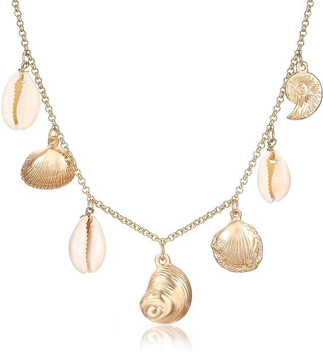 Fashion Leather Cowrie Shell Charm Pendant Jewelry Choker Bib Statement Necklace