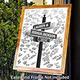 Alternative Wedding Guestbook -''Lover's Lane'' - Have Your Guests Sign this Personalized Mounted Print - Customized Print Includes Names and the Special Date