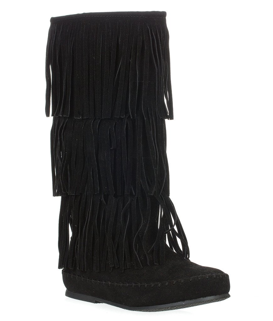 Pierre Dumas Womens Apache-4 Moccasin Fringe Boots B00MX4T7NM 6 B(M) US|Black