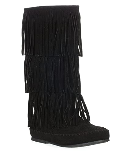 Amazon.com | Pierre Dumas Women's Apache-4 Fringe Moccasin Boots ...
