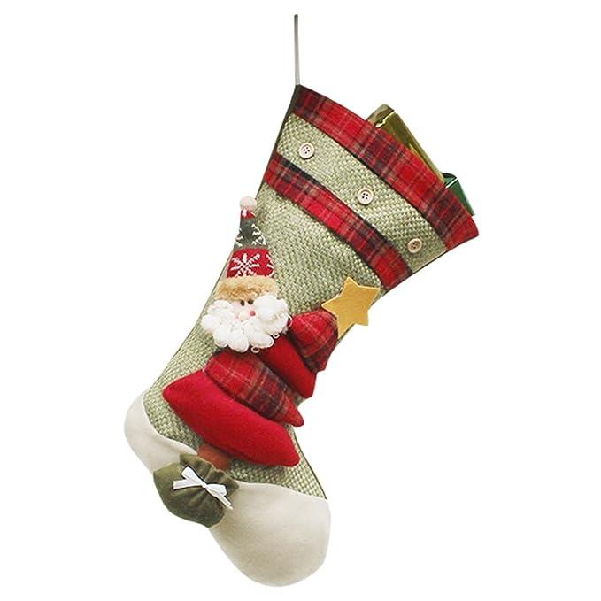 YiLianDa Decoraciones De Navidad Calcetín De Navidad Almacenamiento De Dulces Para Navidad Decoración Calcetin: Amazon.es: Ropa y accesorios