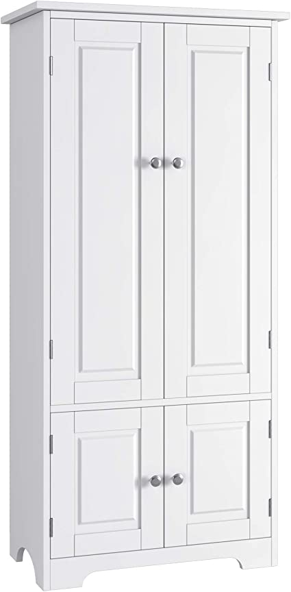 Homfa Kitchen Tall Cupboard With Adjustable Shelves 4 Doors Storage Cabinet Clothes Storage White 54x29x122 5cm Amazon Co Uk Kitchen Home
